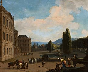 Southern landscape with companionship in a park and a large country house.
