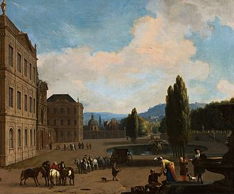 Huchtenburg - Southern landscape with companionship in a park and a large country house (c. 1662) by Jan van Huchtenburg, National Museum in Warsaw