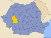 Administrative map of Romania with Hunedoara county highlighted