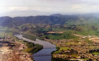 Aerial view of Huntly and the Waikato River in...