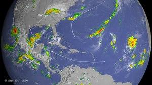 File:Hurricane Tracks dal 2017 con Precipitation e Cloud Data.webm