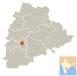 Location of Hyderabad district in Telangana