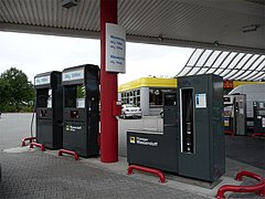 Hydrogen filling dispensers at Agip station near Frankfurt.jpg