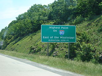 Interstate 80 in Pennsylvania - Sign noting the highest point on I-80 east of the Mississippi River located in Clearfield County.