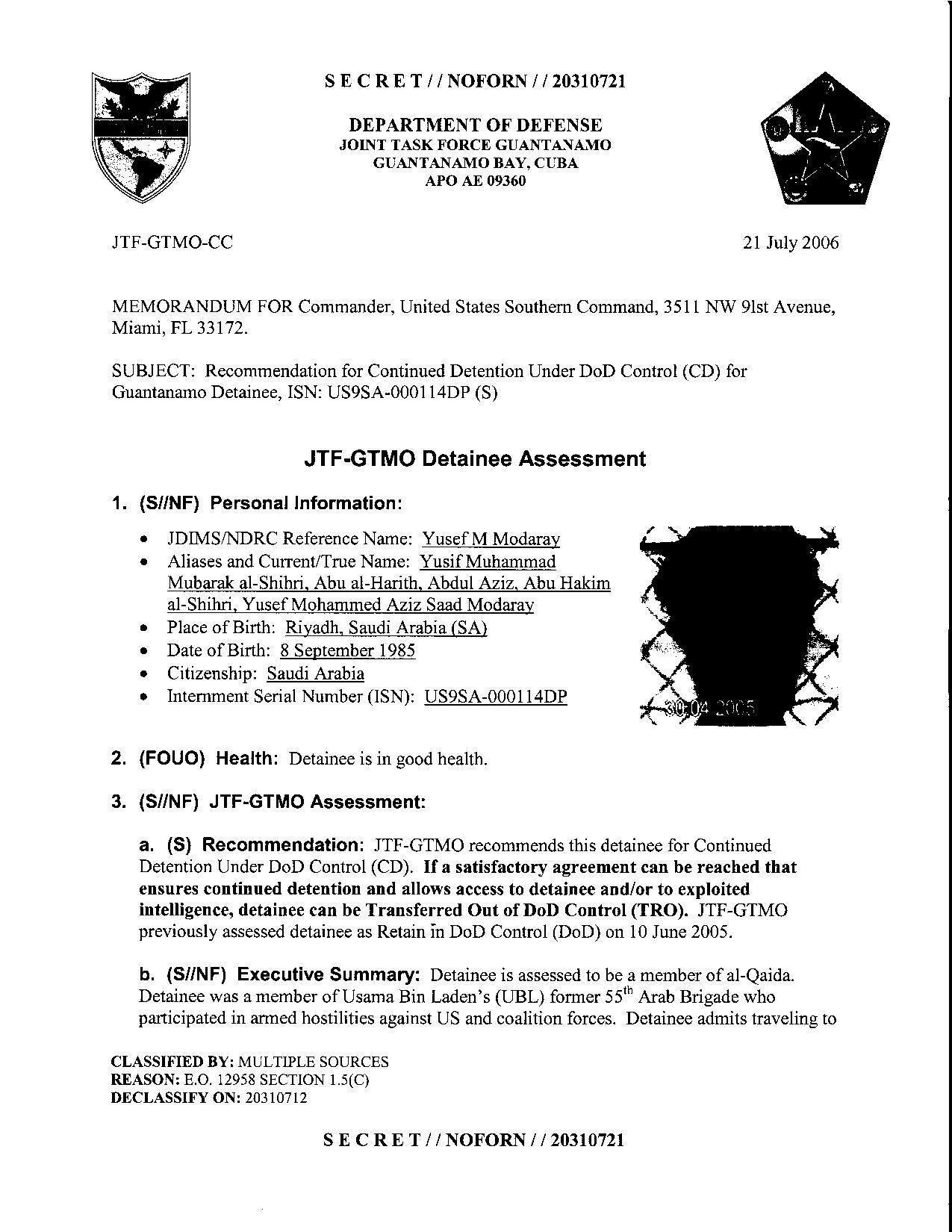 ISN 00114, Yusef M Modaralz's Guantanamo detainee assessment.pdf