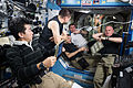 ISS-45 Expedition 45 crew inside the Destiny Lab.jpg