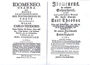 Idomeneus - Italian and German title pages of the original libretto of Mozart's opera, Idomeneo