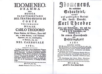 Idomeneus of Crete - Italian and German title pages of the original libretto of Mozart's opera, Idomeneo