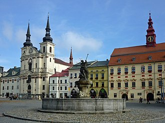Jihlava - Masaryk Square with Saint Ignatius Church and City Hall