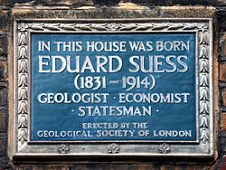 In this house was born eduard suess (1831 1914) geologist economist statesman