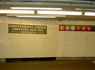 Independent Subway System - Independent Subway mosaics sign at 14th Street station on the Sixth Avenue Line, before V train service at this station was replaced by M train service