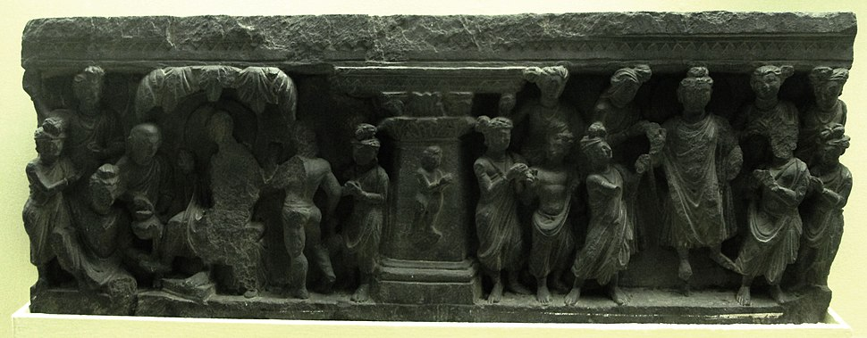Indian Museum Sculpture - Ordination of Rahula, Jamalgarhi (9220605766)