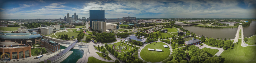 A large panorama photo of downtown Indianapolis