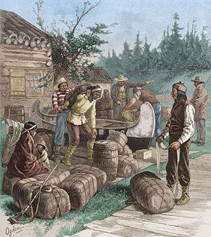 Hudson's Bay Company - Trading at a Hudson's Bay Company trading post.