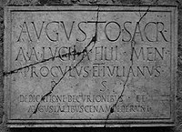 Inscription displaying apices (from the shrine of the Augustales at Herculaneum).jpg