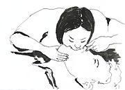 Insuflación boca a boca. La cabeza del paciente se echa para atrás. El socorrista cierra la nariz del paciente con una mano, manteniendo la boca abierta del paciente, y apreciando en todo momento la barbilla.