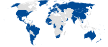 Map showing IWC non-members such as Canada and most Middle Eastern and African countries in white