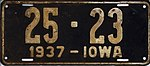 Iowa 1937 license plate - Number 25 - 23.jpg