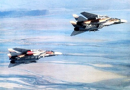 Iranian F-14 Tomcats equipped with Phoenix missiles. Irani F-14 Tomcats carrying AIM-54 Phoenixs.jpg
