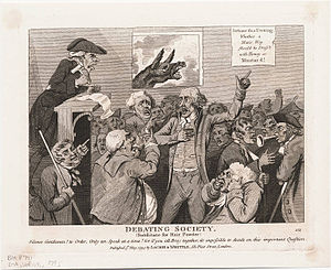 Debate - Debate Tonight: Whether a man's wig should be dressed with honey or mustard! A 1795 cartoon satirizing the content of debates.