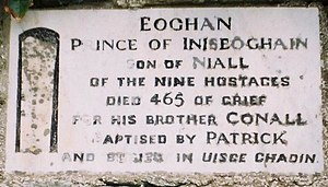 Eógan mac Néill - The plaque marking the reputed burial place of Eógan mac Néill