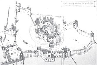 Alnwick Castle - Isometric view of Alnwick Castle, 1866