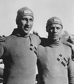 Ivar Ballangrud and Charles Mathiesen (right) at the 1936 Olympics Ivar Ballangrud and Charles Mathiesen 1936.jpg