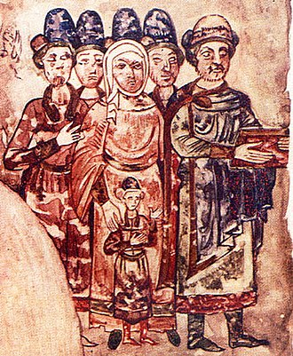 Constantine of Murom - Konstantin as a young man behind his parents 1073