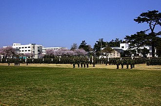 1st Airborne Brigade (Japan) - 1st Airborne Brigade paratroopers in formation in the grounds of Camp Narashino.
