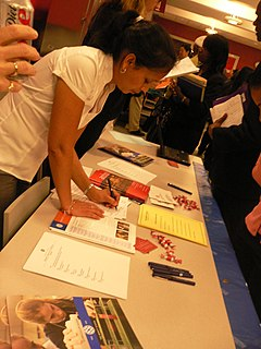 Job fair event at which employers, recruiters, and schools give information to potential employees