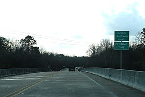 Jackson County, Florida - The sign for Jackson County on U.S. Route 90