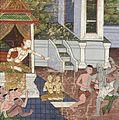 Jali and Kanhajina are Brought Before Their Grandfather King Sanjaya Along with Their Captor, the Ugly Brahmin Jujaka, Scene from Vessantara Jataka LACMA M.76.112.21.jpg