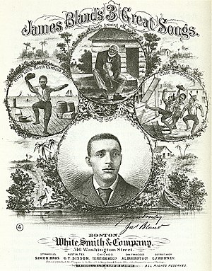 "James A. Bland - Sheet music cover for ""James Bland's 3 Great Songs"", 1879."