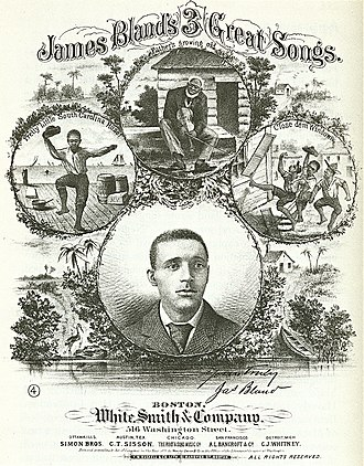 "Hokum - Sheet music cover for ""James Bland's 3 Great Songs"", 1879."