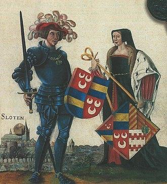 Women in heraldry - Image: Jan van Wassenaar (1483 1523) en Josina van Egmond (1485 1538)