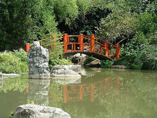 Japanese bridge in the Birmingham Botanical Gardens
