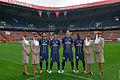 Javier Pastore, Thiago Silva, Zlatan Ibrahimovic, Blaise Matuidi with Emirates flight attendants.jpg