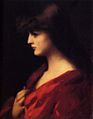 Jean Jacques Henner - Study Of A Woman In Red.jpg