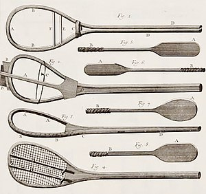 Jeu de paume - Late 18th-century illustration of jeu de paume paddle-bats or battoirs, and (in various stages of construction) strung racquets.
