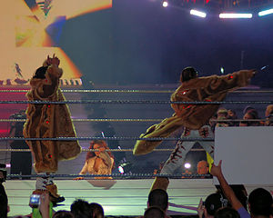 MNM (professional wrestling) - Joey Mercury (left), Melina (bottom), and Johnny Nitro during their ring entrance at December to Dismember (2006).