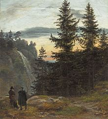 Two Men before a Waterfall at Sunset