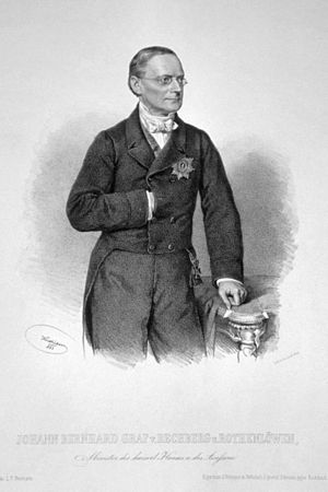 Count Johann Bernhard von Rechberg und Rothenlöwen - Lithograph by Josef Kriehuber, 1863
