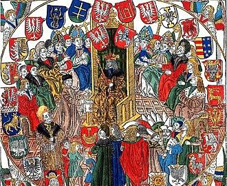 Alexander Jagiellon - Image: Johann Haller, Commune Incliti Poloniae regni privilegium constitutionum et indultuum publicitus decretorum approbatorumque (1506, cropped)