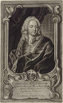 Johann Mattheson(Kupferstich von Johann Jacob Haid 1746 nach Johann Salomon Wahl) (Quelle: Wikimedia)