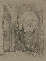 Gezicht op het oxaal van de St Janskerk te 's-Hertogenbosch