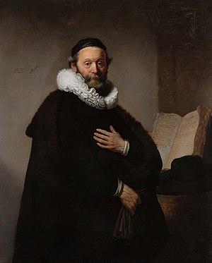 Johannes Wtenbogaert - 1633 portrait of Johannes Wtenbogaert by Rembrandt.