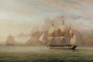 Action of 7 February 1813 - HMS 'Amelia' chasing the French frigate 'Arethuse' 1813, a fancifully titled representation of the early stages of the battle, by John Christian Schetky, 1852. On display at Norwich Castle.