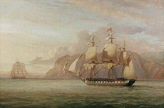 HMS Amelia (1796) - Image: John Christian Schetky, HMS Amelia Chasing the French Frigate Aréthuse 1813 (1852)