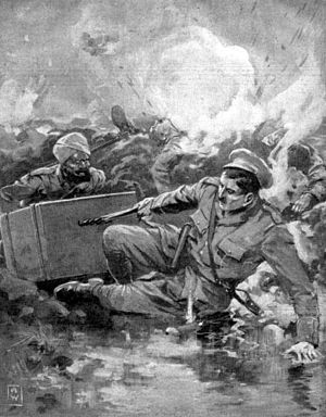 Sir John Smyth, 1st Baronet - Drawing of Lieutenant Smyth's VC action, from The War Illustrated, August 1915.