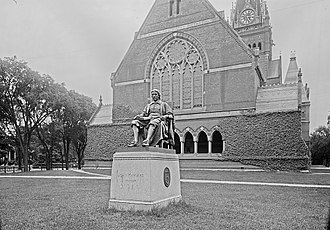 John Harvard (statue) - Original site west of Memorial Hall